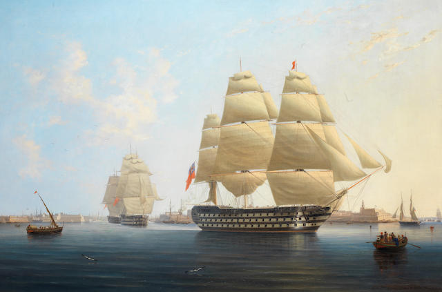 Robert Strickland Thomas (British, 1787-1853) H.M.S. Queen, Flagship of Vice Admiral Sir Edward Rich Owen, Commander-in-Chief of the Mediterranean fleet, leaving Malta