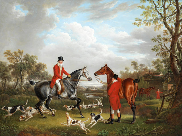 Charles Towne (British, 1763-1840) About to set out, hounds leaving kennels