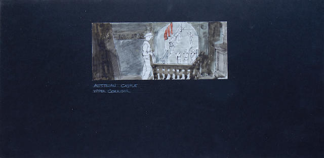 Indiana Jones and the Last Crusade, 1989: Two pre-production concept set designs,
