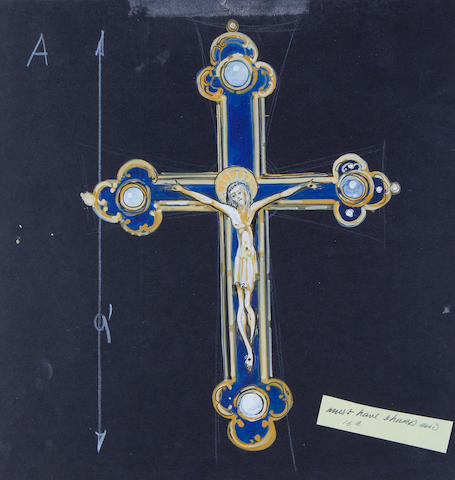 Indiana Jones and the Last Crusade, 1989: An original concept design for the 'Cross of Coronado' and a pre-production set design for the Jones residence study,  together with a further crucifix design, 3
