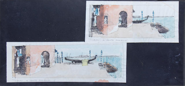 Indiana Jones and the Last Crusade: Four pre-production concept set designs, 1989, all 'Venice, Italy' scenes related, 3