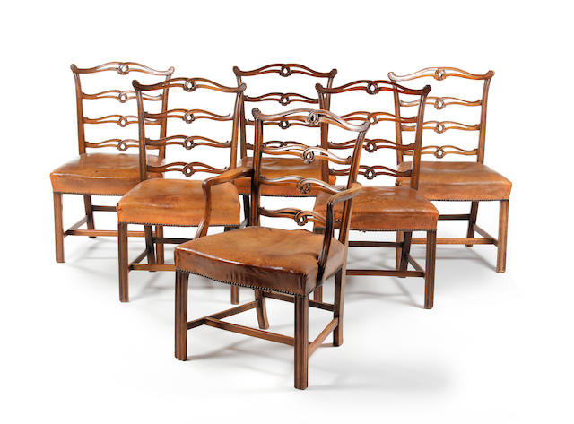 A set of twelve mahogany pierced ladderback dining chairs, in late 18th century style Late 19th century