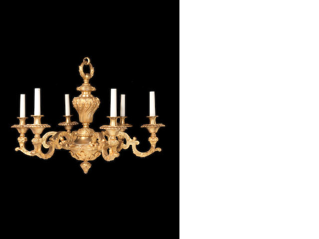 A French late 19th century Régence style gilt-bronze six-light chandelier