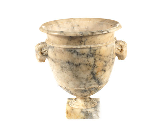 An Italian 19th century alabaster urn