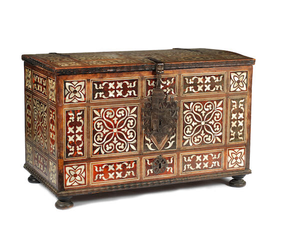 A Portuguese Colonial 17th century ivory, mother of pearl and tortoiseshell inlaid cabinet