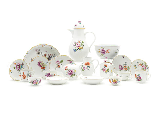 A Meissen part tea and coffee service, circa 1770-75