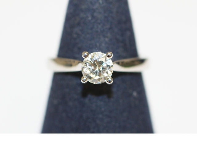 An 18ct white gold single stone diamond ring