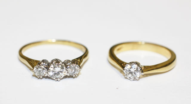 Two diamond set rings,