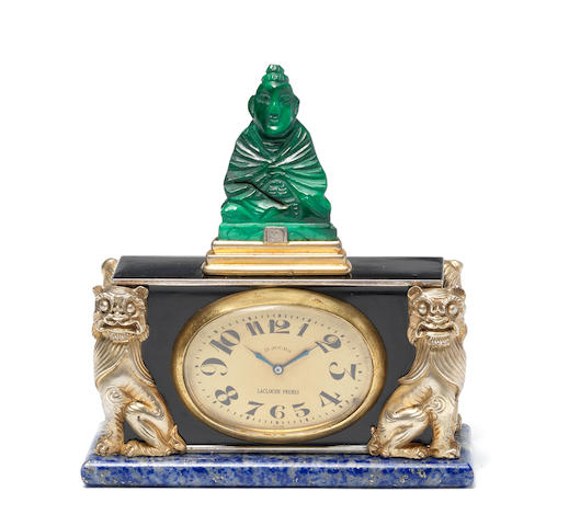 A fine silver, enamel, jade and lapis lazuli eight-day boudoir timepiece, circa 1925 LaCloche Freres