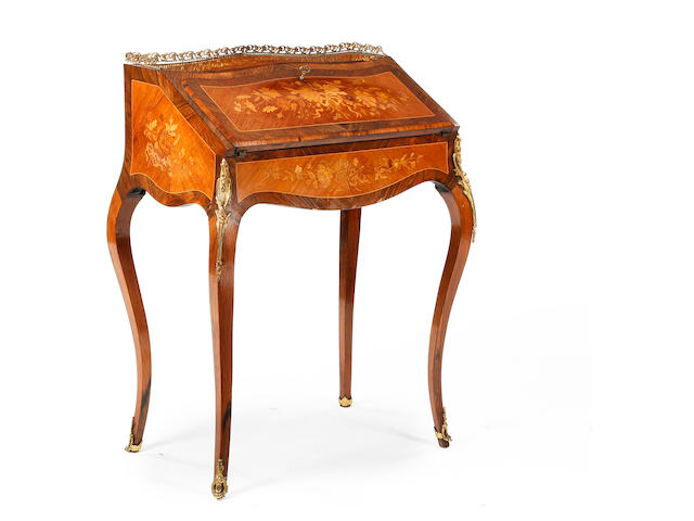 A late 19th century rosewood, floral marquetry and gilt metal-mounted bureau de dame, French