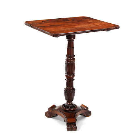 A William IV rosewood and mahogany tilt-top pedestal occasional table