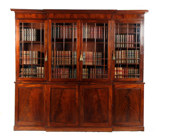 A mahogany library bookcase of slender proportions, 19th century