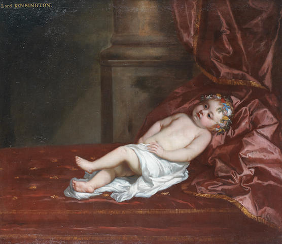 Sir Peter Lely (Soest 1618-1680 London) Portrait of a boy, traditionally identified as Lord Kensington, full-length, in a white cloth