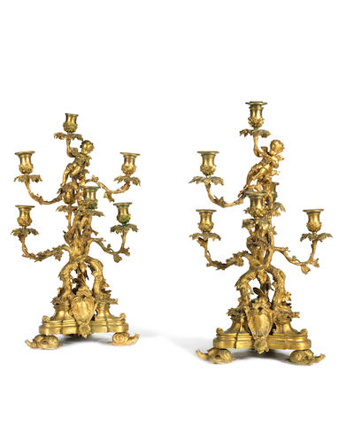 A pair of mid-19th Century ormolu candelabra (12 snails to be affixed)