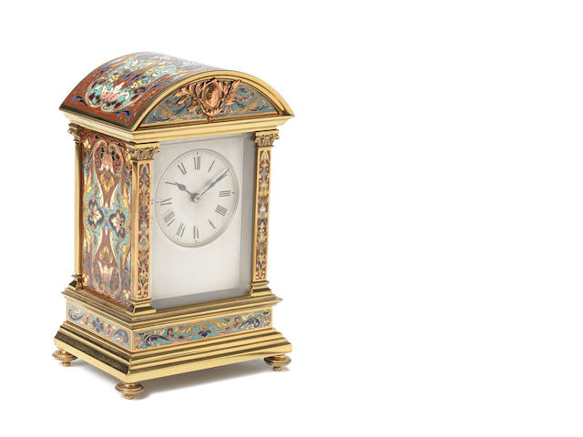 A late 19th century French champleve enamel decorated mantel clock  Retailed by Edward & Sons, Glasgow, the movement by Maurice & Co.