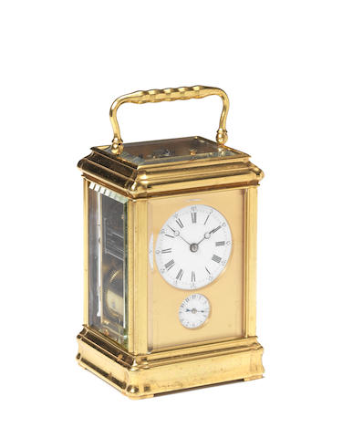 A good late 19th century French grande-sonnerie striking gorge-cased carriage clock by Margaine  Retailed by A.H.Rodanet, number 6876