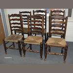 A set of six 19th century ash ladder-back dining chairs