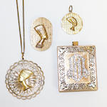 A small collection of modern Egyptian an Eastern pendant,