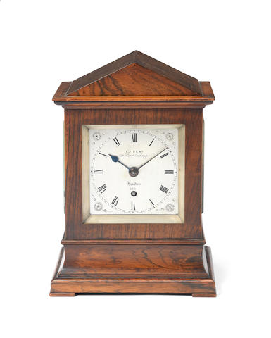 A good mid 19th century rosewood mantel timepiece of small size E.J. Dent, 34 Royal Exchange, London, number 1251