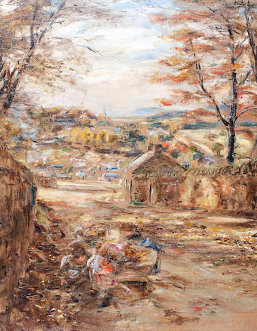 William McTaggart, RSA RSW (British, 1835-1910) Autumn Leaves Lasswade 80.5 x 62.5 cm. (31 3/4 x 24 1/2 in.)