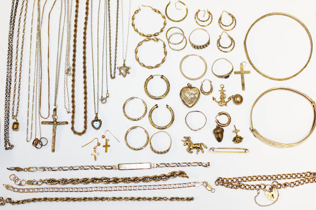 A collection of yellow precious metal and other jewellery,