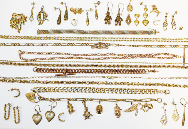 A collection of modern yellow precious metal and other jewellery