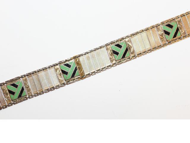 A 9ct gold bracelet with applied enamel panels