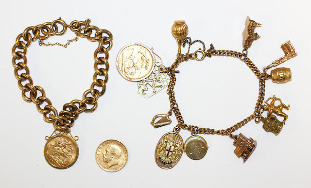 A curb-link braclet and charm bracelet