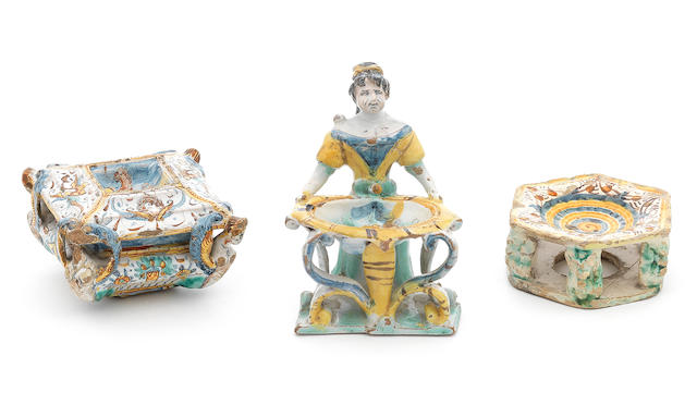 Three various Italian maiolica salts, late 16th and 17th century