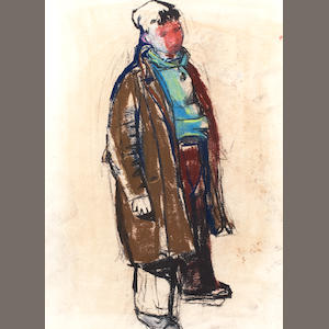Joan Kathleen Harding Eardley, RSA (British, 1921-1963) Boy in overcoat 49 x 35.5cm (19 1/4 x 14 ins)