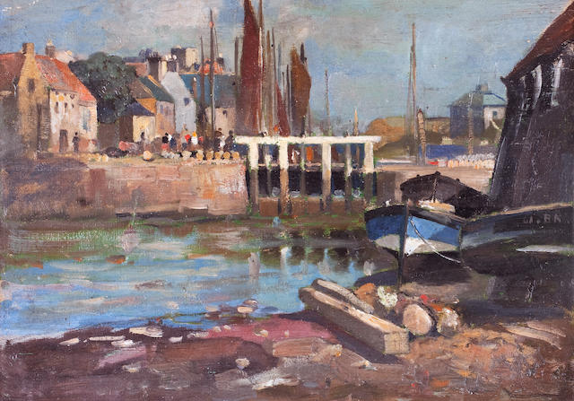 James Whitelaw Hamilton, RSA RSW (British, 1860-1932) Eyemouth 23 x 33 cm. (9 1/16 x 13 in.)