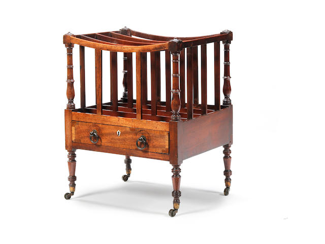 An early 19th century mahogany and crossbanded Canterbury