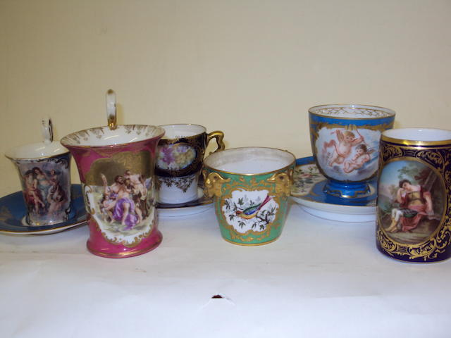 A collection of Continental teacups and sacuers