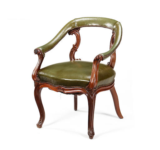 A good early Victorian mahogany-framed library tub chair