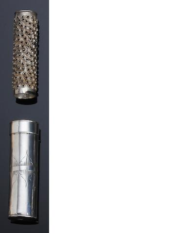 A William and Mary silver nutmeg grater by T.A. with a fleur-de-lys above, see Jackson page 136, circa 1690