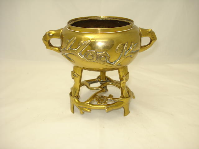 A bronze censer and stand, Bearing six character Xuande mark but later,