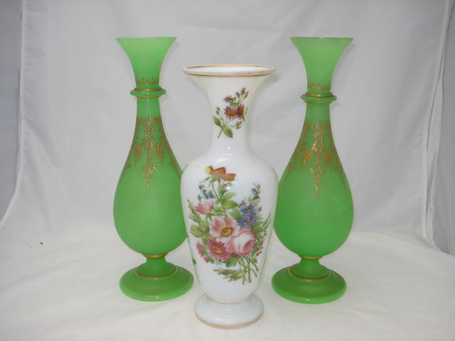 An opaline glass vase, 19th century, probably French,