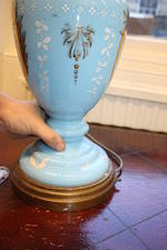 A pair of turquoise blue ground glass baluster oil lamps