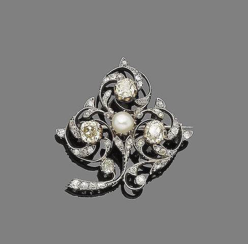 A natural pearl and diamond trefoil brooch,