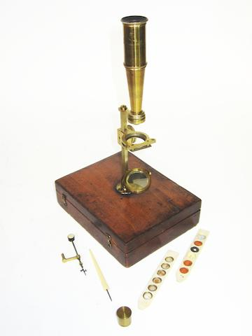 A G & C Dixey Gould type microscope, English, circa 1830,