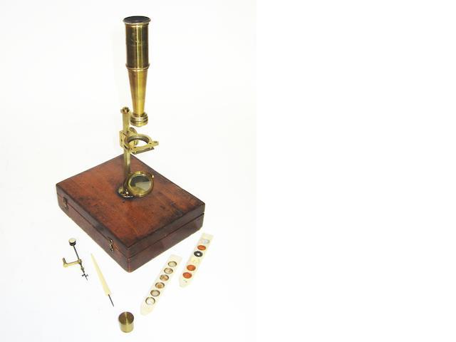 A G & C Dixey Gould type microscope,  English,  circa 1830,