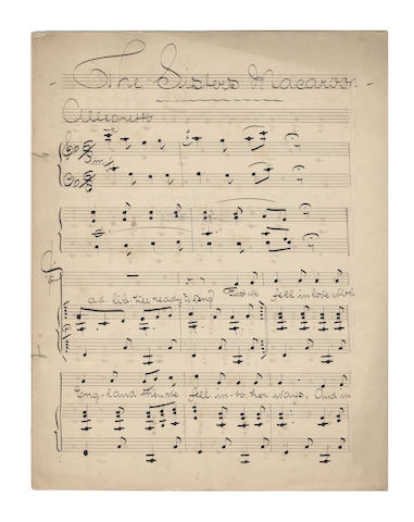 MUSIC - ODOARDO BARRI. Papers of the composer Odoardo Barri (Edward Slater), including correspondence concerning royalties on his best-known work, 'The Boys of the Old Brigade'