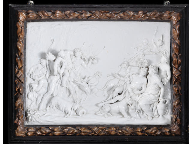 A pair of framed Doccia rectangular plaques allegorical of Autumn and Winter, 19th century