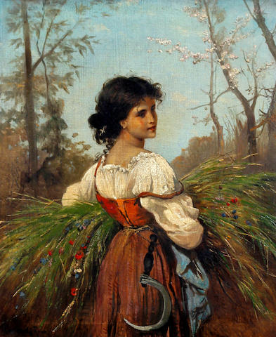 Attributed to Hermann David Salomon Corrodi (Italian, 1844-1905) Maid returning from the fields