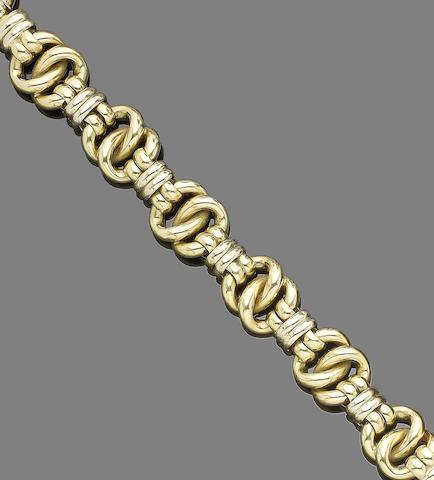 A gold fancy-link bracelet,