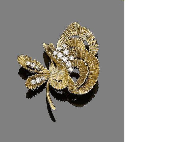 A gold and diamond spray brooch, by Kutchinsky,