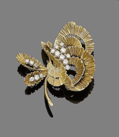 A gold and diamond spray brooch, by Kutchinsky,