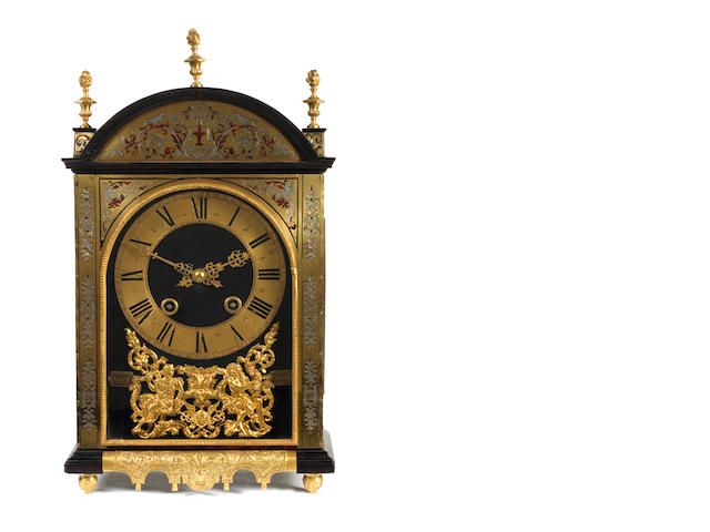 A French early 18th century tortoiseshell, pewter and brass Boulle marquetry religieuse bracket clock  by Piquet, Rennes