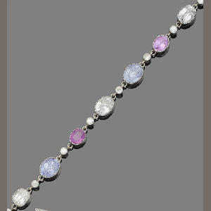 A multi-coloured sapphire and diamond bracelet,