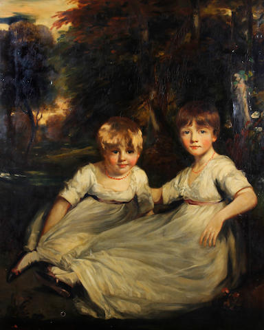 Anthony de Bree (British, active 1876-1913), after John Hoppner R.A. The daughters of the Earl of Sefton before a landscape
